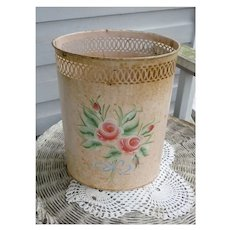 Towle Painted Pretty Green and Pink Roses Blue Bow Vintage Metal Waste Basket