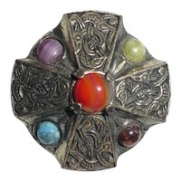 Miracle Scottish Celtic Brooch with Cabochons