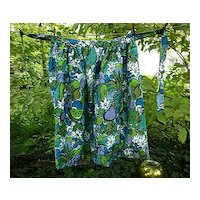 Bold Fruits Flowers and Doves Vintage 1960's Maxi Length Apron