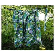 Bold Fruits Flowers and Doves Vintage1960's Maxi Length Apron