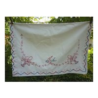 Flower Baskets and Bird Embroidered Red Blue Large Pillow Sham