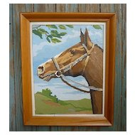 Horse Portrait Vintage Paint-by-Numbers Framed Painting