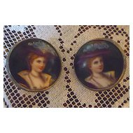 Victorian Ladies Portrait Limoges Style Enamel Porcelain and Silver Earrings