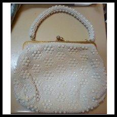 Le Jule Label Vintage 50s White Beaded Purse Handbag