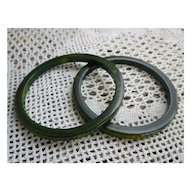 Spinach Green Stacker Set of 2 Bakelite Bangle Bracelets