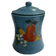 Vintage Blue Cookie Jar with Hand Painted Fruit