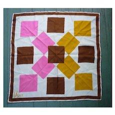 Vintage Vera Pop Art Big Squares Pink Brown Gold White Silk Scarf