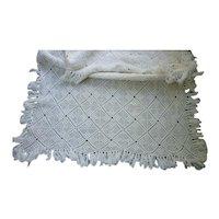 Heirloom Lattice and Popcorn Pattern Hand Crochet Small Bedspread