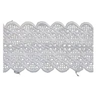 White Double Scalloped Edges Embroidered Machine Lace Trim 13 2/3 Yds