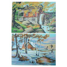 Autumn and Winter Landscapes Vintage Paint-by-Numbers Paintings Set of 2