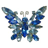 Beautiful Blues Juliana D&E Rhinestone Butterfly Brooch