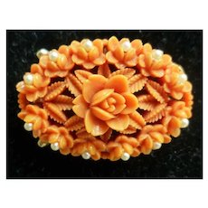 Floral Coral Celluloid and Faux Pearls Brooch