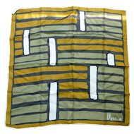 Vintage Vera Pop Art Olive Green Gold White and Black Scarf