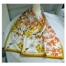 Vintage Vera Orange Yellow Brown White and Black Flowers and Stalks Print Long Scarf