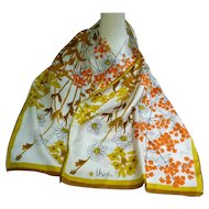 Vintage Vera Orange Yellow Brown White and Black Flowers and Stalks Print Long Scarf
