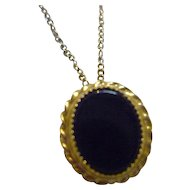 Onyx 12K GF Pendant Necklace Signed KL