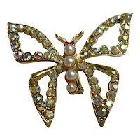 Aurora Borealis Rhinestones Faux Pearls Butterfly Brooch