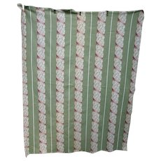 Cottage Chic Soft Pink Ecru and Green Leaves Barkcloth