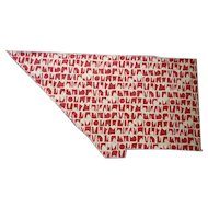 Red and Oatmeal Abstract Modern Vintage Barkcloth Piece