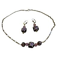 Purple Flowers Glass Lampwork Beads Necklace and Earrings Set