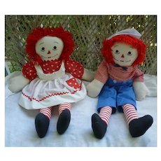 Large Pair Handmade Vintage Raggedy Ann and Andy Dolls
