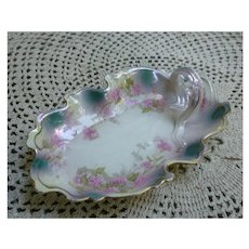 Floral and Gold Trim Porcelain Lemon Server Plate with Handle