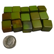 Sage and Olive Green Bakelite Cubes Set