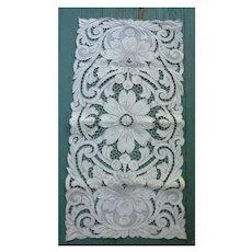 Elaborate Open Work Heavily Hand Embroidered Linen Runner