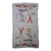 Lobster Pot Seafood Theme Vintage Linen Dish Towel