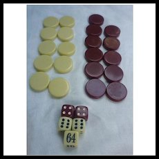 Cream and Maroon Backgammon Disks and Dice Set of 30