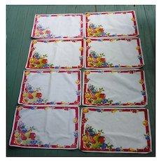 Colorful Fruit in Basket Print Placemats Set of 8