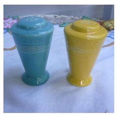 Harlequin Yellow and Turquoise Salt and Pepper Shakers Set