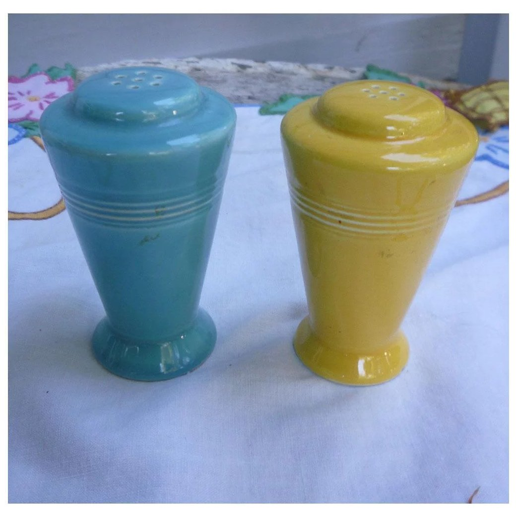 Harlequin Yellow And Turquoise Salt And Pepper Shakers Set Chez Marianne Ruby Lane