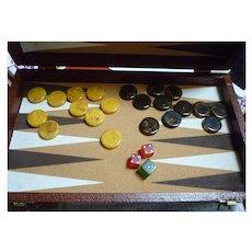 Backgammon Game Box Bakelite Disks and Dice Set