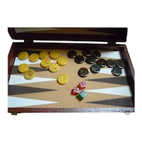 Backgammon Game Box Bakelite Disks and Dice Set