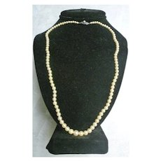 Lovely Graduated Single Strand Cream with Rose Tone Cultured Pearl Necklace with Pearl Clasp