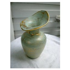 Gold and Aqua Glaze Royal Haeger Vase 430H Vintage 1950s