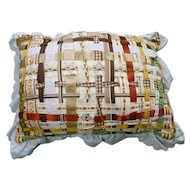 Hand Made Woven Ribbons and Eyelet Trim Pillow