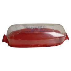 Vintage Beacon Plastic Butter Dish with Advertising Promotion