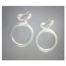 Classic Monet Silvertone Dangle Hoops Clip Back Earrings