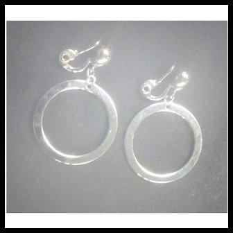Classic Monet Silvertone Dangle Hoops Clip Back Earrings