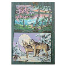 Summer and Winter Landscapes Vintage Paint-by-Numbers Paintings Set of 2
