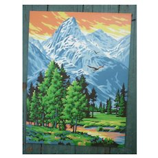 Rocky Mountain Landscape Vintage Paint-by-Numbers Painting