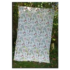 Vines with Leaves Berries and Tendrils Barkcloth Drape