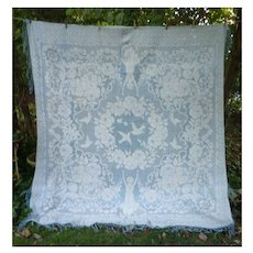 Romantic Love Birds, Roses and Maidens Italian Woven Bedspread