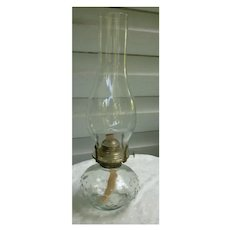 Pressed Glass Hobnail Bottom Tall Chimney Oil Lamp