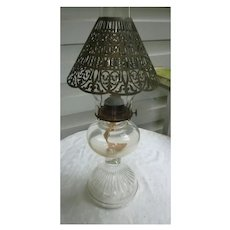 Pressed Glass Ribbed Bottom Hurricane Chimney Oil Lamp with Metal Shade