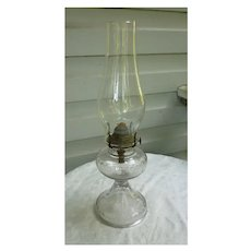 Pressed Glass Bottom with Handle Tall Chimney Oil Lamp