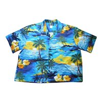 Ali's Fashions Fabulous Sunset Print Hawaiian Aloha Surfer Shirt 3XL