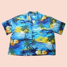 Ali's Fashions Fabulous Sunset Print Hawaiian Aloha Surfer Shirt 3XL